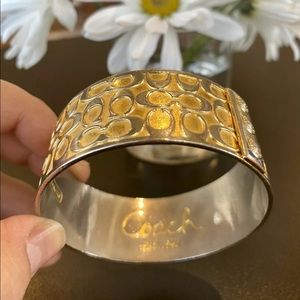 COACH Brand Gold Tone Bangle Bracelet Signature C